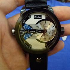 Ceas OULM - Dual Core - 2 Ceasuri, Quartz, Barbatesc, Curea Piele, Casual