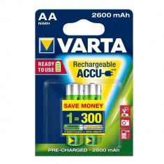 ACUMULATORI VARTA R6 AA, 2 BUC / SET, BATERII REINCARCABILE Ni-MH, 2600 mAh - Baterie Aparat foto Varta, Tip AA (R6)