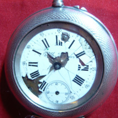 Ceas buzunar Wilh Kollmer Austria -inc. sec.XX -D.= 4, 3 cm, D.cadran=3cm, defect - Ceas de buzunar