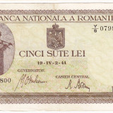 Bancnota 500 lei 2 IV 1941 filigran vertical VF/XF (5) - Bancnota romaneasca