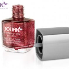 Oja speciala Jolifin pt matrita ce se aplica cu stampila, rosie cu sclipici 12 ml - Lac de unghii