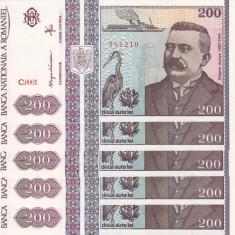 ROMANIA lot 5 buc. X 200 lei 1992 UNC!!! - Bancnota romaneasca