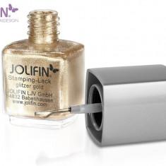 Oja speciala Jolifin pt matrita ce se aplica cu stampila, auriu sclipici 12 ml - Lac de unghii
