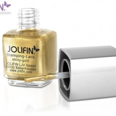 Oja speciala Jolifin pt matrita ce se aplica cu stampila, aurie 12 ml - Lac de unghii