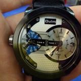 Ceas OULM - Dual Core - 2 Ceasuri, Quartz, Barbatesc, Curea Piele, Casual - Ceas barbatesc, Analog, Nou