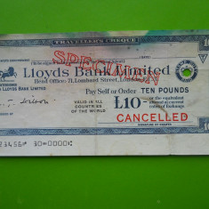 HOPCT ANGLIA 10 POUNDS TRAVELLER S CHEQUE /CEC DE CALATORIE LLOYDS BANK LIMITED