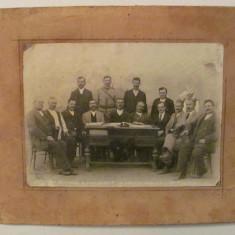 GE - Fotografie foto veche Comisiunea comunei Cudalbi / Galati sedinta 1928, Alb-Negru, Portrete, Romania 1900 - 1950