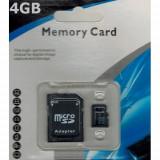 Card micro SDHC 4GB Clasa 4 cu adaptor SD, Micro SD, 4 GB