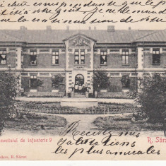 MILITARA, CASARMA REGIMENTULUI DE INFANTERIE 9, R. SARAT, CIRCULATA *909 - Carte Postala Muntenia 1904-1918, Ramnicu Sarat, Printata
