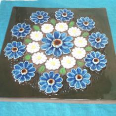 Aplica f.mare, relief ceramica emailata - Crizanteme - design Aimo N. JIE Suedia - Arta Ceramica