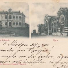 RAMNICUL SARAT, SCOALA PRIMARA SI GARA, CIRCULATA, STAMPILA NOV. ''900 - Carte Postala Muntenia pana la 1904, Ramnicu Sarat, Printata