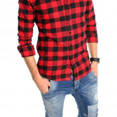 Camasa tip Zara bumbac - camasa carouri - camasa barbati - cod produs: 6002, Marime: L, Culoare: Din imagine, Maneca lunga