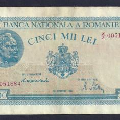ROMANIA 5000 5.000 LEI 10 OCTOMBRIE 1944 [9] P-55, XF - Bancnota romaneasca