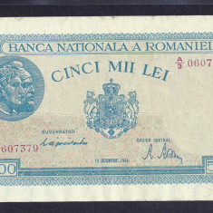 ROMANIA 5000 5.000 LEI 10 OCTOMBRIE 1944 [12] P-55, XF - Bancnota romaneasca