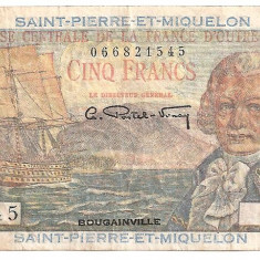 SAINT PIERRE ET MIQUELON 5 francs franci ND (1950-60) F
