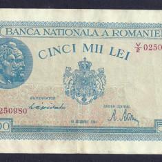 ROMANIA 5000 5.000 LEI 10 OCTOMBRIE 1944 [15] P-55, VF+ - Bancnota romaneasca