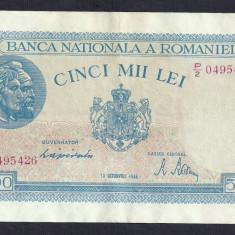ROMANIA 5000 5.000 LEI 10 OCTOMBRIE 1944 [7] P-55, XF+ - Bancnota romaneasca