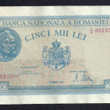 ROMANIA 5000 5.000 LEI 20 MARTIE 1945 [4] P-55, XF++ filigran vertical - Bancnota romaneasca
