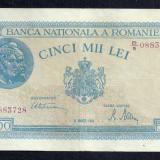 ROMANIA 5000 5.000 LEI 20 MARTIE 1945 [6] P-55, XF filigran vertical - Bancnota romaneasca