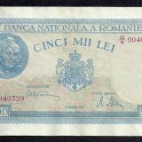 ROMANIA 5000 5.000 LEI 20 MARTIE 1945 [5] P-55, XF+ filigran vertical - Bancnota romaneasca