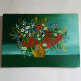 superb tablou pictat pe panza reprezentand cos cu flori