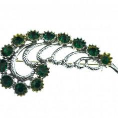 Brosa vintage decorata cristale Bohemia verzi, inspirata Belle Epoque, anii 1950 - Brosa Fashion