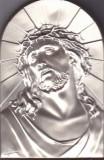 Icoana Jesus. Foita metal argintiu lipit pe o bucata de lemn cu picior