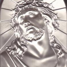 Icoana Jesus. Foita metal argintiu lipit pe o bucata de lemn cu picior - Icoana din metal