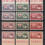 CRUCEA ROSIE 1946 - SETUL COMPLET DT. SI NDT. PE HARTIE ALBA SI GRI - MNH - Timbre Romania, Nestampilat