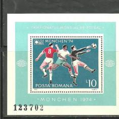 Romania 1974 - SPORT FOTBAL MUNCHEN, colita nestampilata, M284, Nestampilat