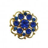 Brosa vintage stil edwardian, cristale Bohemia albastre, design retro minimalist
