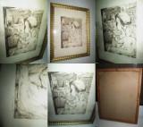 Tablou Grafica-Lantos J.- Pictor maghiar banatean., Scene gen, Carbune, Impresionism