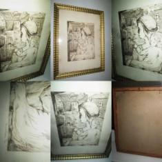 Tablou Grafica-Lantos J.- Pictor maghiar banatean. - Pictor strain, Scene gen, Carbune, Impresionism