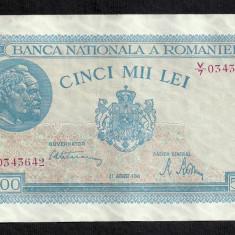 ROMANIA 5000 5.000 LEI 21 AUGUST 1945 [4] P-55 filigran vertical, XF+++ - Bancnota romaneasca