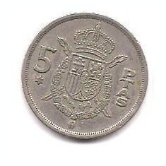No(5) moneda-SPANIA-5 Ptas 1975, Europa
