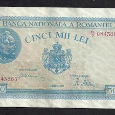 ROMANIA 5000 5.000 LEI 21 AUGUST 1945 [8] P-55 filigran vertical, XF+