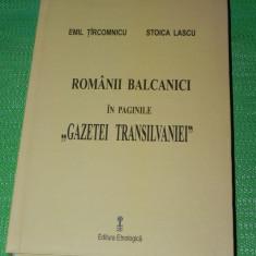 EMIL TIRCOMNICU - ROMANII BALCANICI IN PAGINILE GAZETEI TRANSILVANIEI 1878-1913, Alta editura