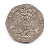 No(5) moneda-ANGLIA-20 Pence 1991