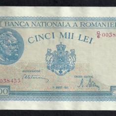 ROMANIA 5000 5.000 LEI 21 AUGUST 1945 [6] P-55 filigran vertical, XF++ - Bancnota romaneasca