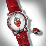 Reducere 80% - Ceas - Strawberry Red Strap/White Dial with Crystal Bezel - Ceas dama, Fashion, Quartz, Inox, Analog