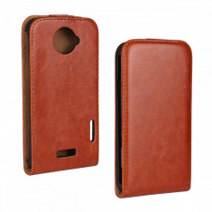 Husa flip maro HTC One X material sintetic + folie protectie ecran - Husa Telefon HTC, Toc