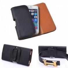 Husa neagra flip atasabila la curea pentru Iphone 5G + folie ecran cadou - Husa Telefon, Negru