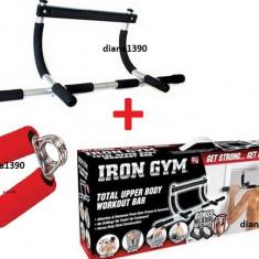 Bara de TRACTIUNI Aparat De Forta Iron Gym + Flexor - Bara tractiuni Iron Gym, Pe usa