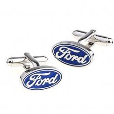 Butoni auto model ford metalici argintii + cutie simpla cadou