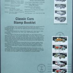 SUA 1988 - MASINI CLASICE, 1 CARTON PREZENTARE OBLITERAT PRIMA ZI - E4016