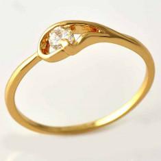Superb inel 9K GOLD FILLED cu cristal CZ. Marimea 9 - Inel placate cu aur