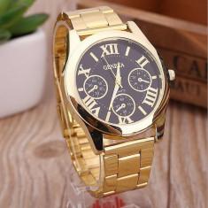 Ceas dama auriu gold GENEVA curea metalica model clasic + cutie simpla cadou, Mecanic-Manual, Otel, Analog