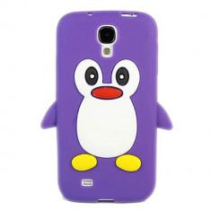 Husa silicon pinguin mov Samsung Galaxy S4 i9500 i9505 + folie ecran