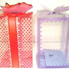 Cutie acetofan -martisoare, drept 20/9/9 cm cu fundita, mov, rosu, roz