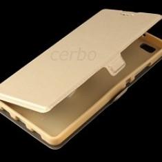HUSA LG NEXUS 5X CARTE CU INCHIDERE MAGNETICA GOLD - Husa Telefon LG, Alcatel OT-918, Transparent, Silicon